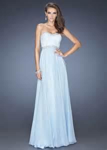 long powder blue la femme 20128 strapless chiffon prom