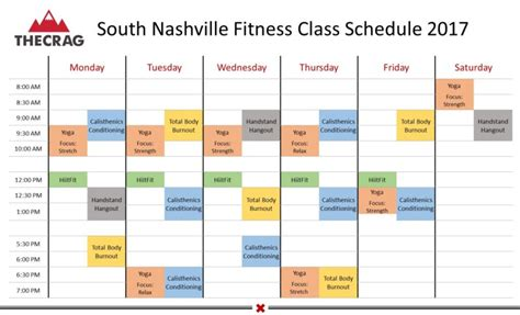 South Mba Class Schedule by South Nashville Fitness Class Schedule The Crag