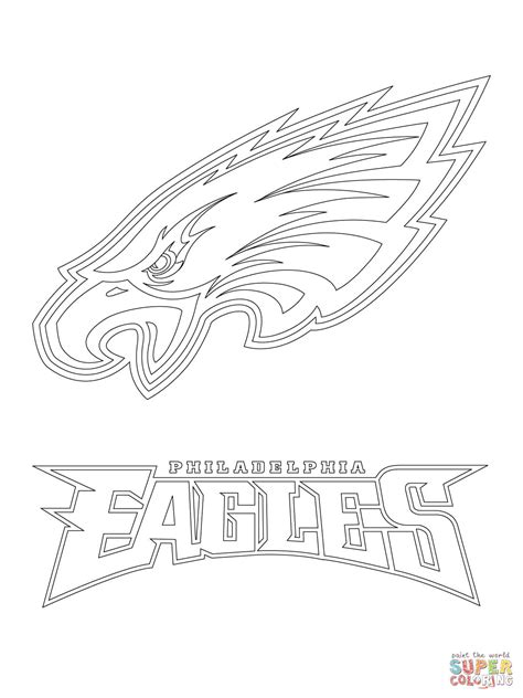 philadelphia eagles logo coloring page free printable