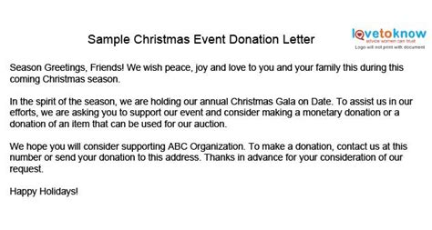 christmas donation request exle two sle event donation letter