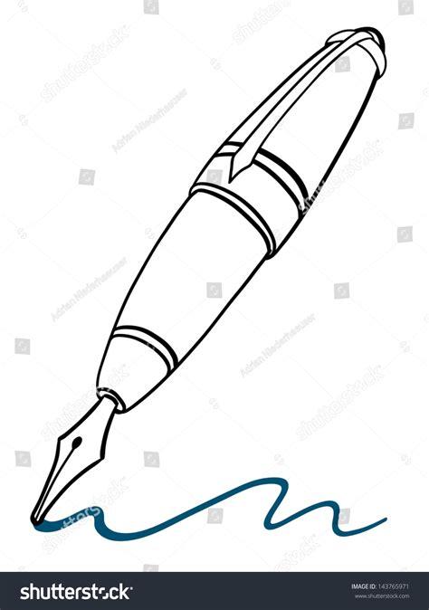 pen doodle vector doodle illustration classic pen gold stock vector