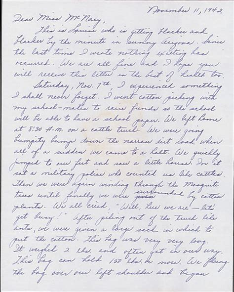 Letter Louise Letter To Helen Mcnary From Louise Ogawa Poston Arizona November Collections