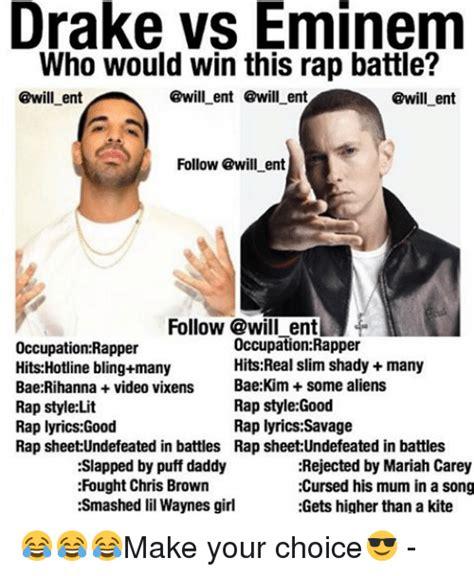 eminem vs drake drake vs eminem who would win this rap battle ent ent ent