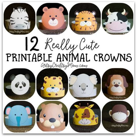 printable animal crowns 12 adorable animal party printable hats for a jungle party