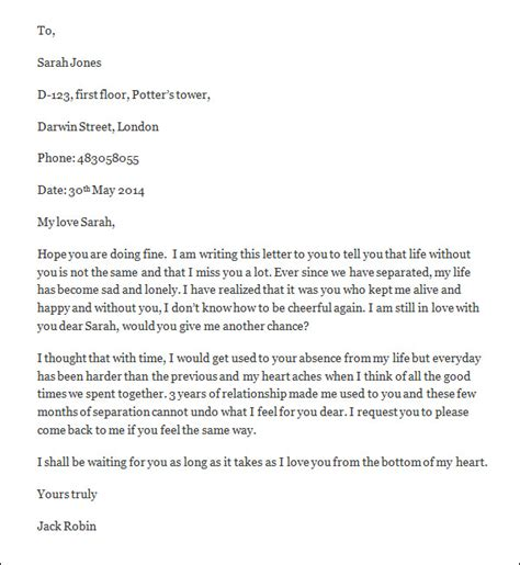 Letter To Ex Gf Sle Letter For 9 Free Documents In Word