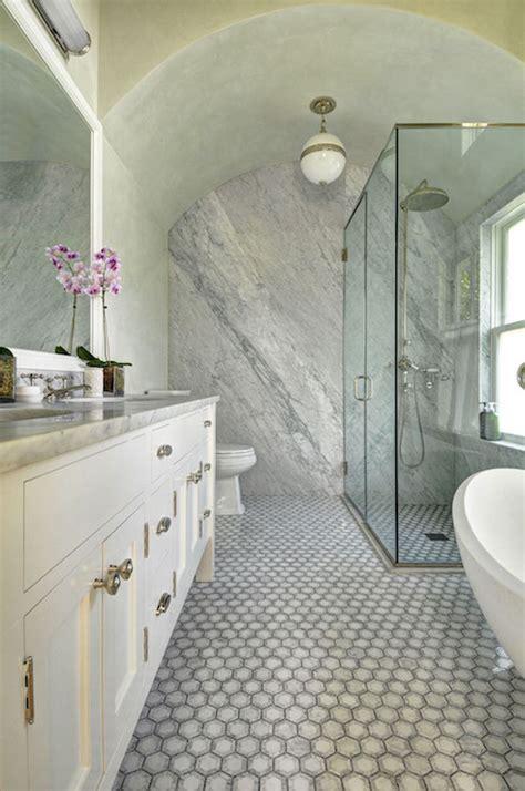 bathroom  barrel ceiling transitional bathroom