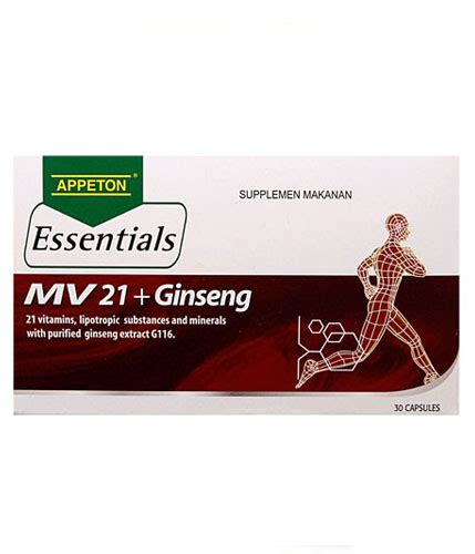 Appeton Essentials Mv21 appeton essentials mv 21 ginseng 30 kapsul gogobli