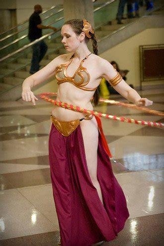 celeb sexystar look alike princess leia slave bikini with hula hoop costume fail