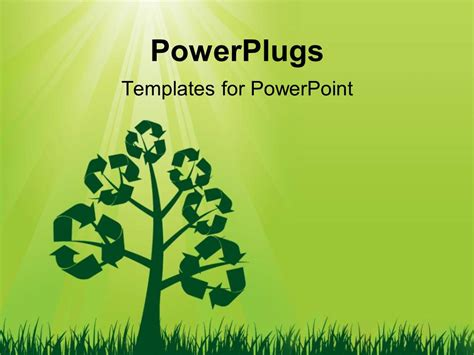 templates powerpoint ecology powerpoint template recycle symbols on a tree with sun