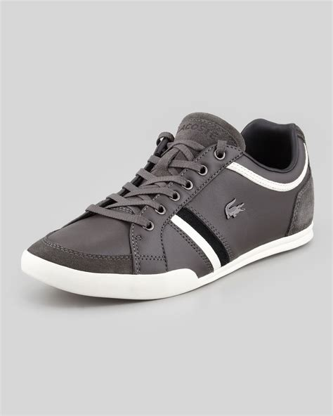 Sneaker Grey Strape Sepatu Sneaker Sneaker Grey Sneaker Strape lacoste rayford striped leather sneaker in gray for grey lyst