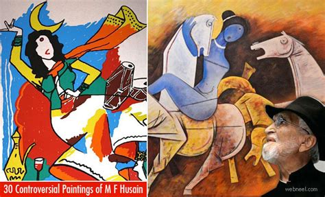 M F Hussain Sketches by 30 Controversial Mf Hussain Paintings Most Indian