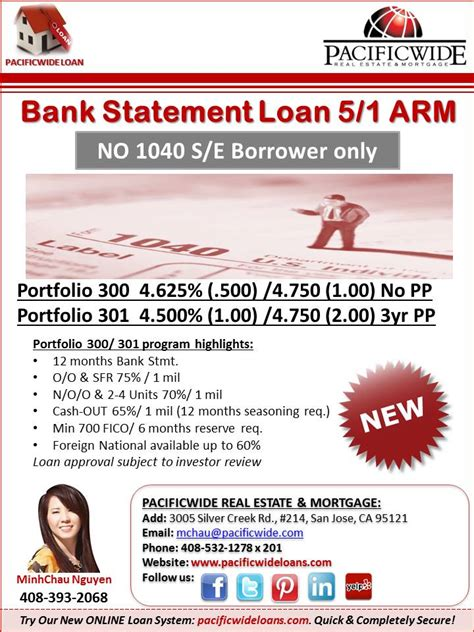 bank statement loan 5 1 arm
