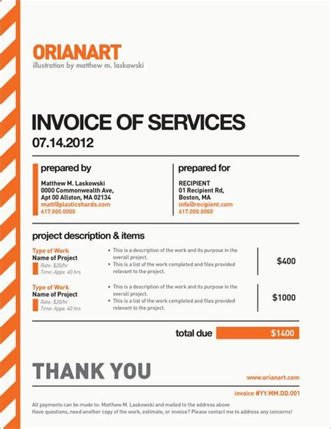 very nice invoice design by orianart beautiful