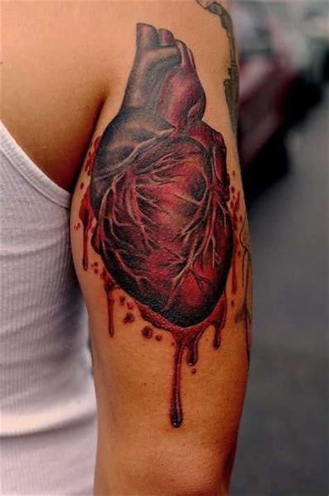 anatomically correct heart tattoo sleeve anatomical and blood on