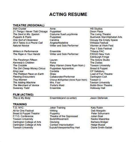 sample acting resume templates   ms