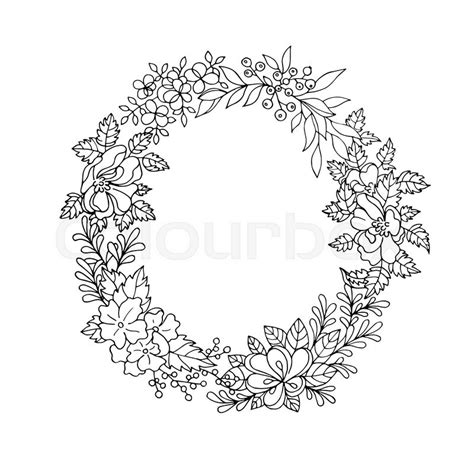 Banner Design Ideas by Black And White Vintage Detailed Flower Wreath Stock Vector Colourbox
