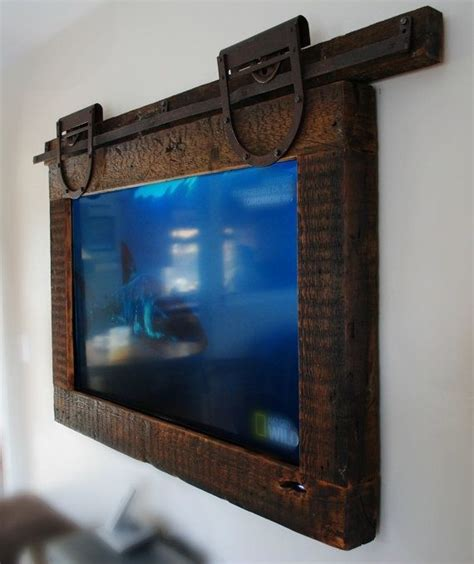Barn Door Frame Hanging Tv Barn Door Style House The Hanger Tv Frames And Style