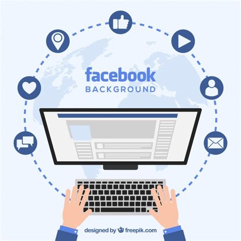 facebook layout vector free download facebook background with computer screen vector free
