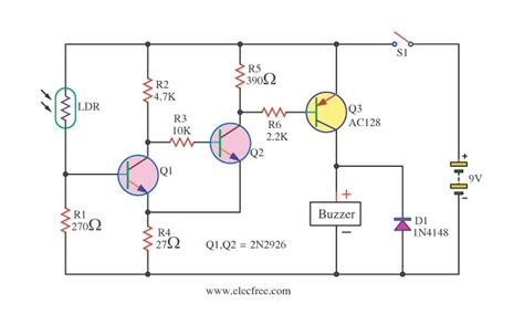 sensor resistor circuit four light sensor alarm circuits eleccircuit