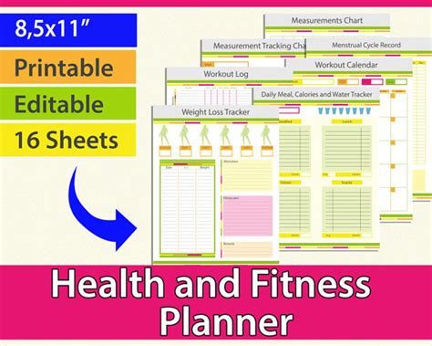 free printable weight loss planner fitness planner workout planner weight loss journal weight