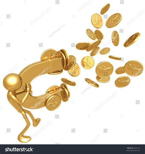money magnet attracting gold yen coins stock photo 4345120