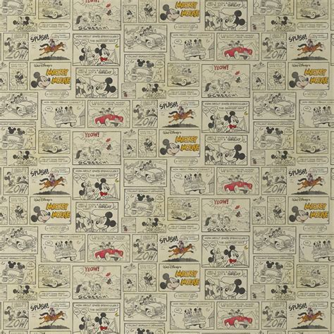 Shopping For Home Decor by Disney Mickey Mouse Minnie Night Out Comic Strip Wallpaper