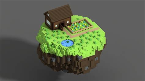 simple voxel floating island blender 3d youtube floating voxel island voxels pinterest islands