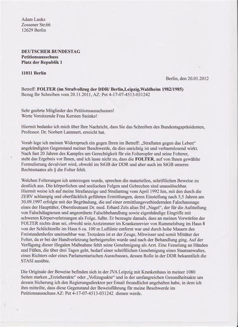 Beschwerde Brief Und Mehr Deutscher Bundestag Petitionsausschuss Wir Wollen Beim
