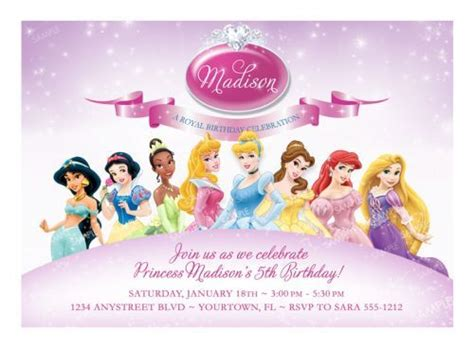 princess invitation templates disney princess birthday invitation sles templates