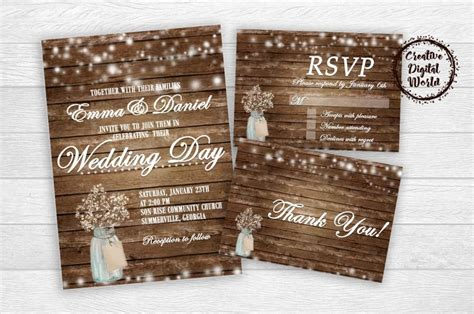 rustic rsvp card template free rustic wedding set invitation thank you card rsvp