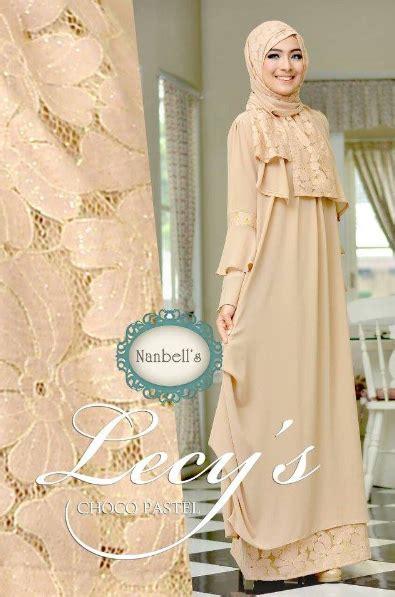 desain gaun untuk perpisahan koleksi busana muslim wanita kombinasi renda brokat