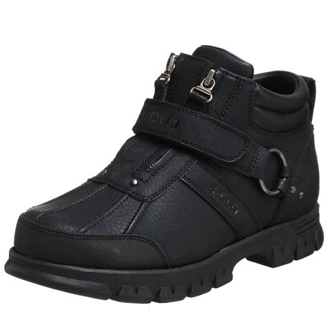 polo ralph conquest 2 ankle boot in black for