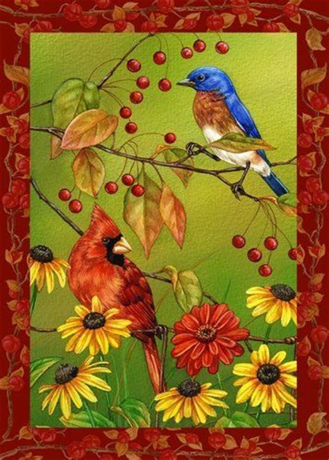 toland home garden 102504 birds n berries house flag by