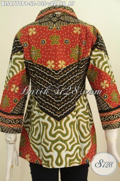 Baju Kerja Baju Jawa Basofi Rapih Banget baju blus klasik motif sinaran pakaian batik wanita proses printing model kerah kotak elegan