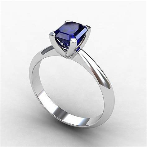 blue sapphire ring white gold engagement ring emerald