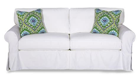 Cottage Style Slipcover Sofa With Rolled Arms And Kick Slipcover Style Sofas