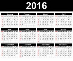 Yearly calendar 2016