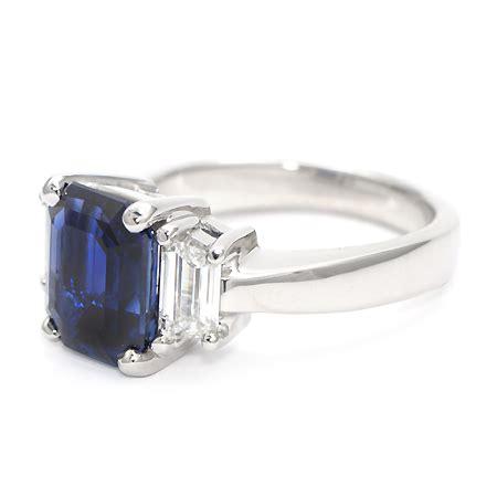 emerald cut blue sapphire ring gemstone jewelry wixon