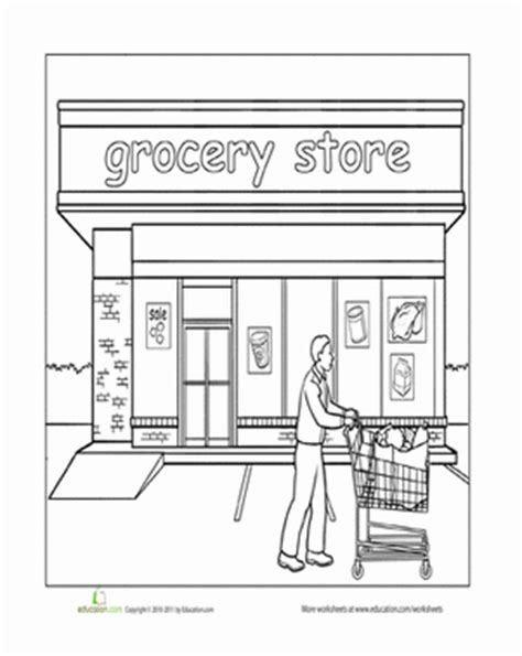 printable coloring pages grocery store paint the town grocery store grocery store worksheets