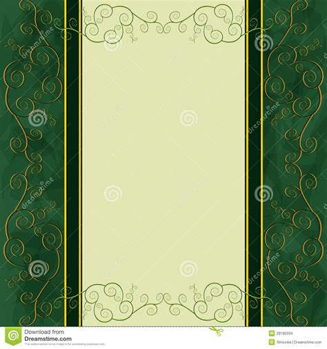 invitation card design green vintage background menu cover invitation card stock vector