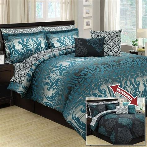 marian teal ten 10 piece reversible comforter set blue