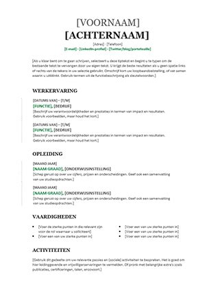 Chronologisch Cv Sjabloon cv groen office templates