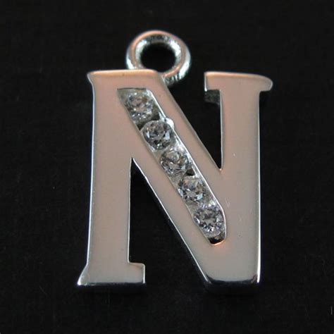silver letter sterling silver letter charm with cz stones