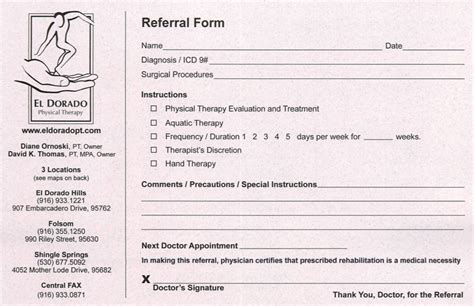 For Physicians Occupational Therapy Referral Form Template