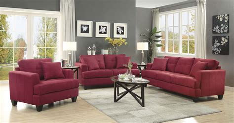 coaster samuel sofa set crimson 505185 living set at
