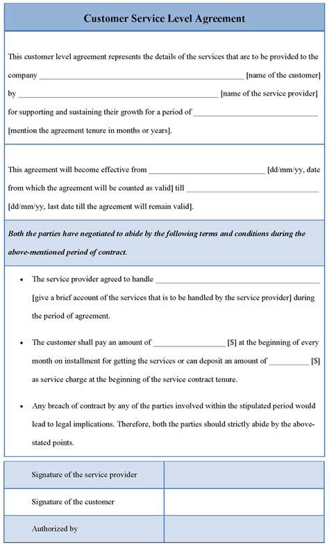 agreement template  customer service levelsample  customer service level agreement