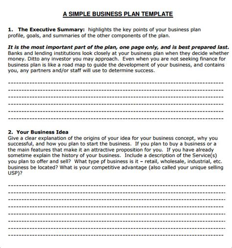 simple small business plan template small business plan template 6 free for pdf