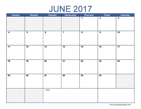 Calendar Of June June 2017 Calendar Template Printable Monthly Calendar