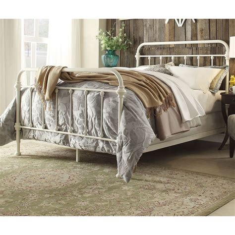 Antique White Bed Frame Antique White Iron Metal Bed Frame Set Size Furniture Ebay