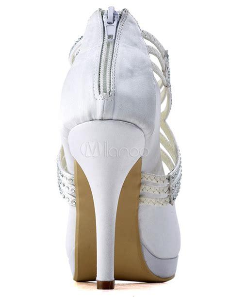 weiße brautschuhe mit riemchen stilvolle damen brautschuhe mit kreuzenden riemchen und
